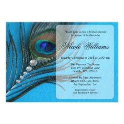 Jewel Peacock Feather Bridal Shower Invitation Card