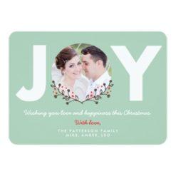 Joy Mint   Holiday Photo Card Invitation Card