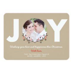 Joy Rustic   Holiday Photo Card Invitation Card