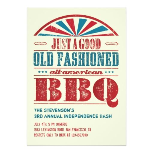 July 4 Independence Day Bbq Grunge Invitation Card