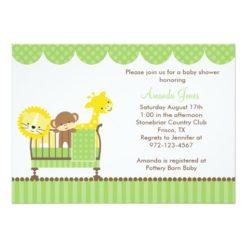 Jungle Animals In A Crib (Green) Invitation Card