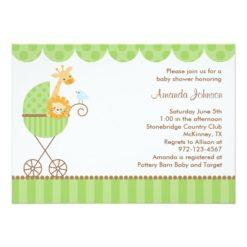 Jungle Animals In Green Stroller Invitation Card