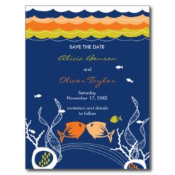 Kissing Fishes Fish Coral Sea Beach Save The Date Postcard
