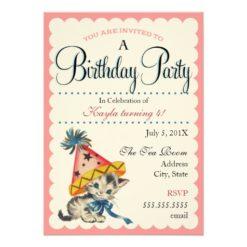 Kitty Birthday Party | Retro Birthday Invitation Card