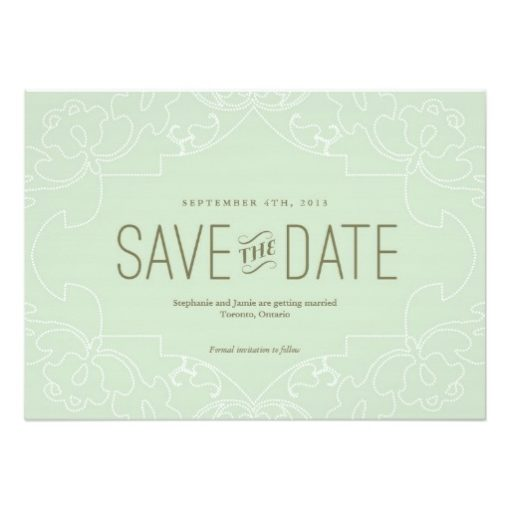 Lacy Save The Date Card // Mint/Bluegreen Invitation Card