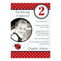 Ladybug Red Black Polka Dot Girl Photo Birthday Invitation Card