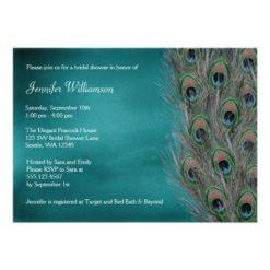 Lavish Peacock Feather Bridal Shower Invitation Card
