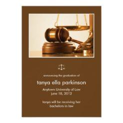 Law Major Gavel Graduation Announcement Invitation Card