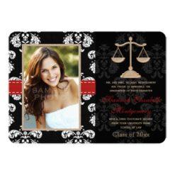 Law School Graduation Announcements Invitation Red Invitation Card