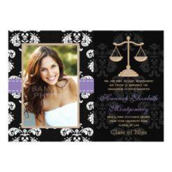 Law School Graduation Announcements Invites Purple Invitation Card