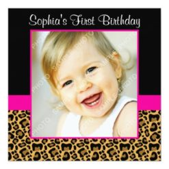 Leopard Hot Pink Girls Photo 1St Birthday Party Square Paper Invitation Card