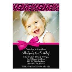 Leopard Print Pink Bow 1St Birthday Girl Photo Invitation Card