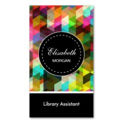 Library Assistant- Colorful Mosaic Pattern Double-Sided Standard Business Cards (Pack Of 100)