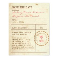 Library Card Save The Date Invitation Card