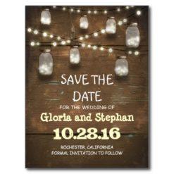 Lights & Mason Jars Rustic Save The Date Postcard