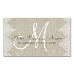 Linen Lace Simple Plain Monogram Double-Sided Standard Business Cards (Pack Of 100)