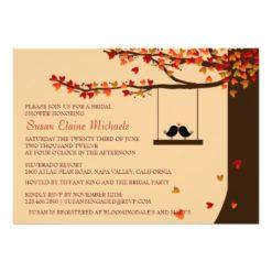 Love Birds Falling Hearts Oak Tree Bridal Shower Invitation Card