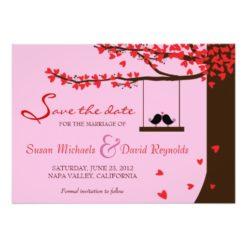 Love Birds Falling Hearts Oak Tree Save The Date Invitation Card