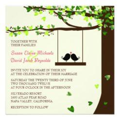Love Birds Falling Hearts Oak Tree Wedding Invite Square Invitation Card