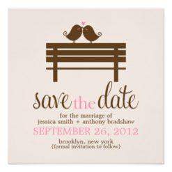 Love Birds On Park Bench Wedding Square Paper Invitation Card