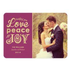 Love Peace And Joy | Gold Holiday Photo Card Invitation Card