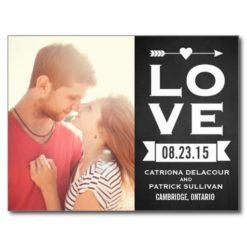 Love Rustic Chalkboard   Save The Date Postcard