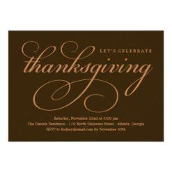 Lovely Script Thanksgiving Dinner Invitation Card