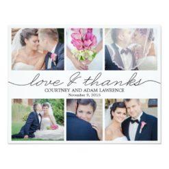 Lovely Writing Wedding Photo Thank You Card White Invitation Card
