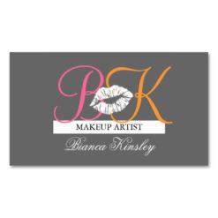 Makeup Artist Monograms Business Cards Pink Grey