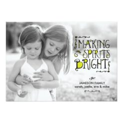 Making Spirits Bright In Lime Holiday Card Invitation Card