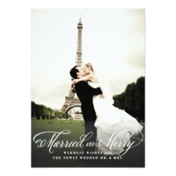 Married And Merry Holiday Photo Card Invitation Card