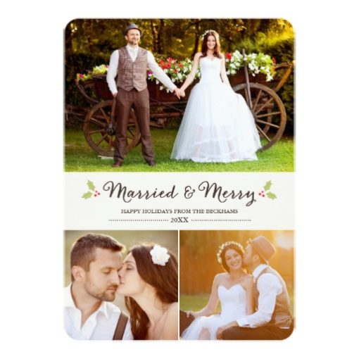 Married And Merry Holly Christmas Photo Card Invitation Card