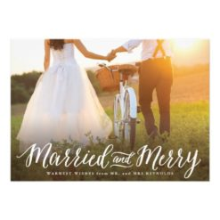 Married And Merry Landscape Holiday Card Invitation Card