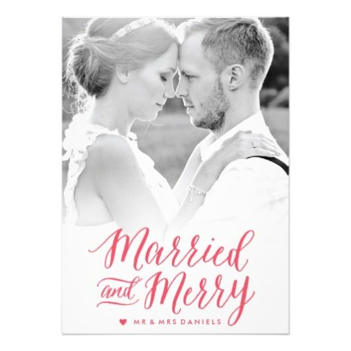 Married And Merry Red Holiday Photo Card Invitation Card