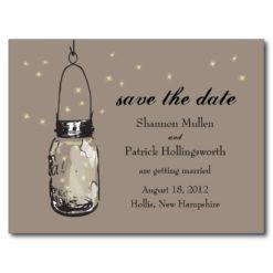 Mason Jar And Fireflies Wedding Invitations Postcard