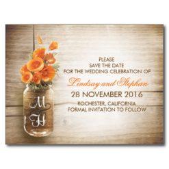 Mason Jar And Orange Flowers Save The Date Postcard