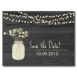 Mason Jar And String Of Lights Save The Date Postcard