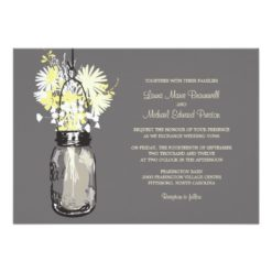 Mason Jar And Wildflowers Wedding Invitation Card