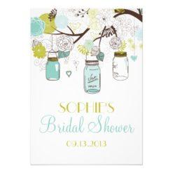 Mason Jars Spring Flowers Bridal Shower Invitation Card