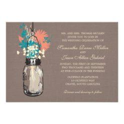Mason Jars With Wildflowers Bridal Shower Invitation Card
