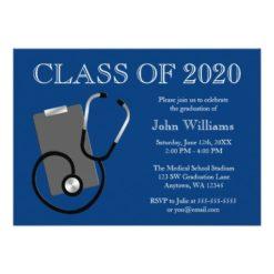 Medical Nursing School Blue Graduation Invitation Card