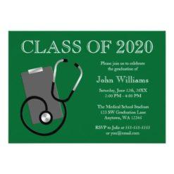 Medical Nursing School Green Graduation Invitation Card