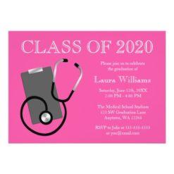 Medical Nursing School Pink Graduation Invitation Card