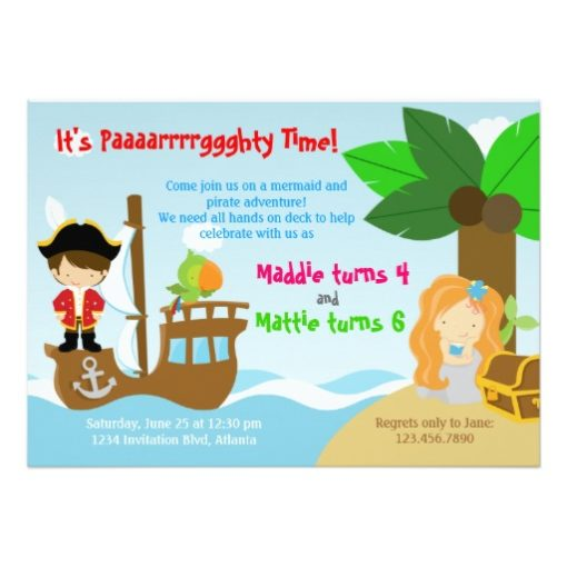 Mermaid And Pirate Twins Joint Birthday Party Invitation Card
