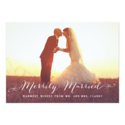 Merrily Married Christmas Photo Holiday Card Invitation Card