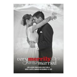 Merrily Married First Christmas Holiday Greetings Invitation Card