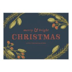 Merry And Bright Christmas Greeting Invitation Card