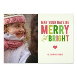 Merry And Bright Christmas/ Holiday Photo Card Invitation Card