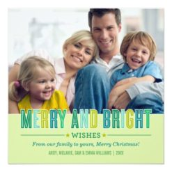 Merry And Bright Christmas Photo Card | Green Square Invitation Card