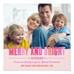 Merry And Bright Christmas Photo Card | Red Pink Square Invitation Card